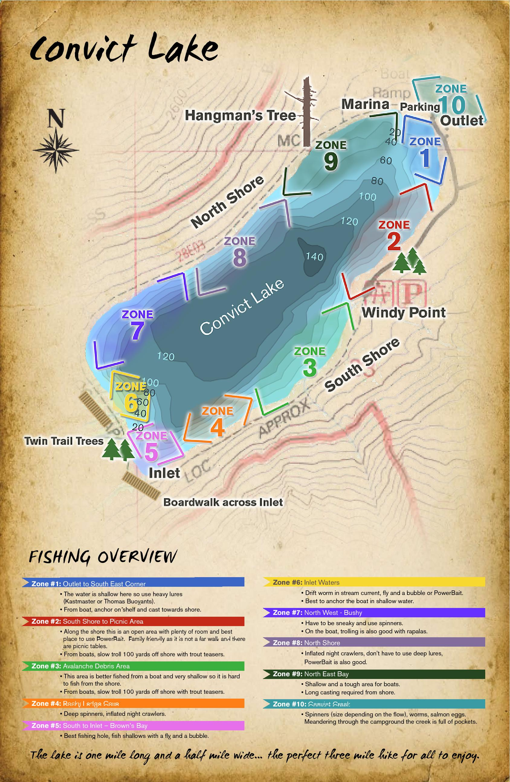 Fishing map for convict lake convict lake resort for Convict lake fishing report
